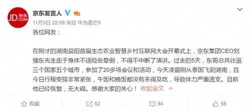 刘强东湖南益阳险晕倒 5天往返3国参会20余场