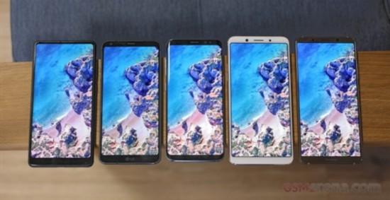 主流全面屏旗舰首次集体同框:三星S8/iPhone X最服众