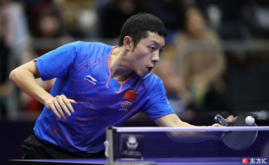 World number three Xu Xin wins the men's singles title at the ITTF World Tour Swedish Open after beating his teammate Fan Zhendong 4-1, 19 November 2017. [Photo: IC]