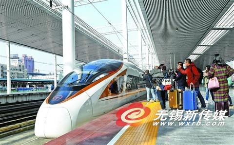 """""""复兴号""""列车正式在沪宁城际高铁无锡站运营"""