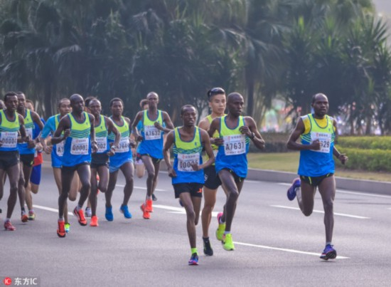 African runners lead an international marathon race in Shenzhen, Guangdong Province, on December 18, 2016. [File photo: IC]