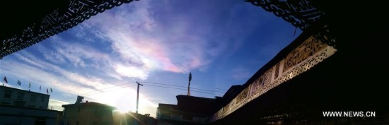Colorful cloud seen in Lhasa, China's Tibet