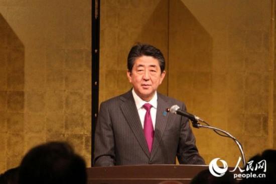 日本首相安倍晋三在致辞(许永新 摄)