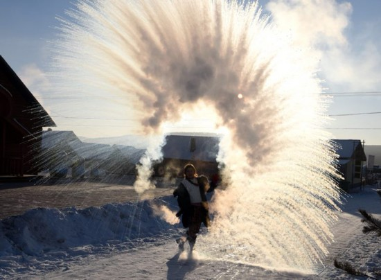 Winter in northernmost China - so cold, even hot water freezes fast