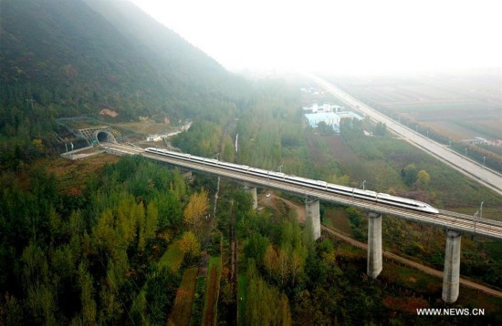 Aerial views along Xi'an-Chengdu high-speed railway