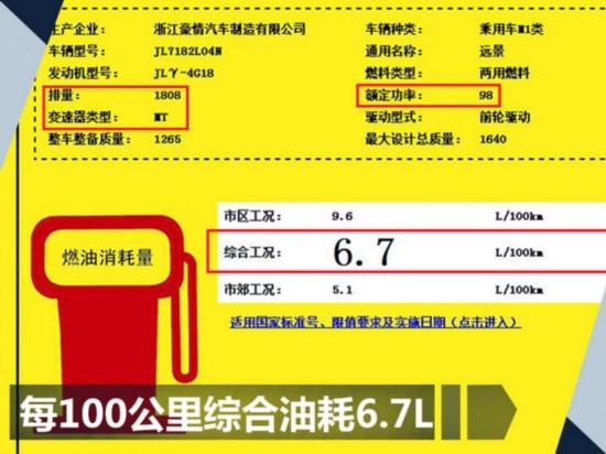 吉利远景增搭1.8L发动机 动力超别克/售价上涨-图1