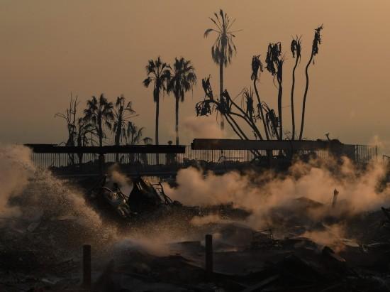 12月5日,在美国加利福尼亚州南部文图拉县,消防员在林火现场灭火。新华社/法新