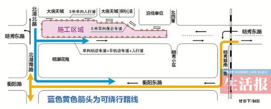 南宁地铁5号线北湖南路站开建 来看看如何绕行(图)