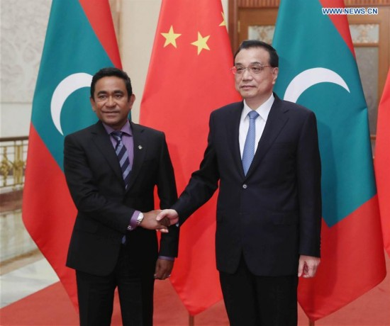 Premier Li meets with Maldives president in Beijing