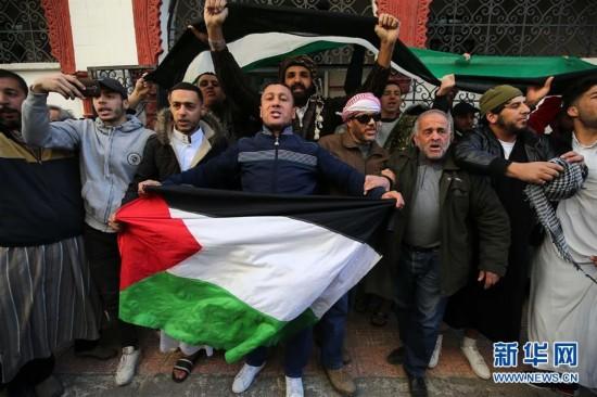 阿尔及利亚民众抗议美国承认耶路撒冷为以色列首都