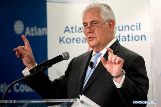 U.S. Secretary of State Rex Tillerson speaks during the Atlantic Council-Korea Foundation Forum at Atlantic Council Headquarters in Washington D.C., the United States, on Dec. 12, 2017. [Photo: Xinhua/Ting Shen]