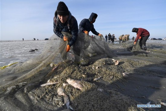 Winter fishing event held on Chagan Lake in China's Jilin