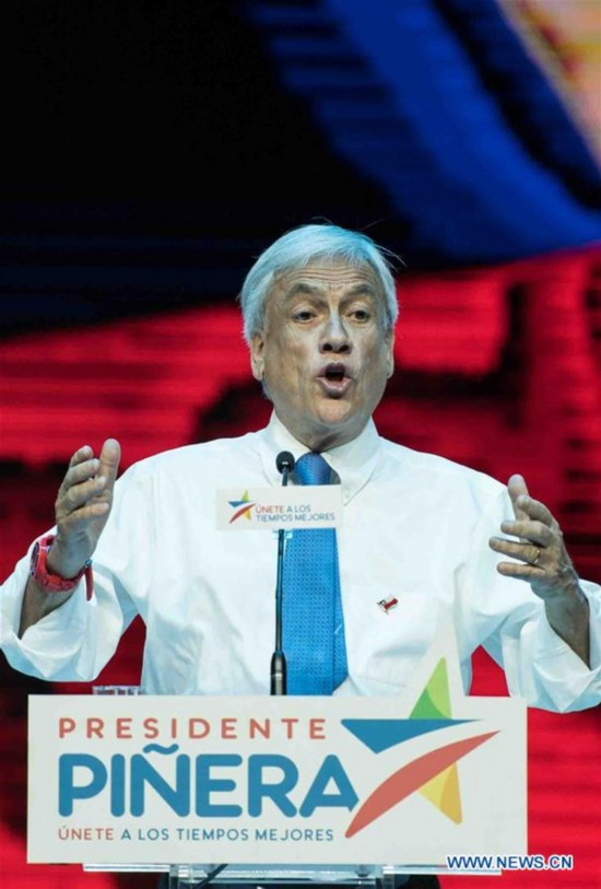 CHILE-SANTIAGO-PRESIDENTIAL ELECTIONS-PINERA-WINNING