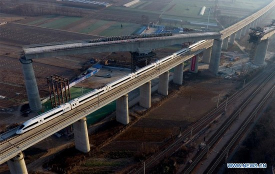 Shangqiu-Hefei-Hangzhou high-speed railway under construction