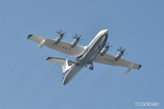 China's first domestic large amphibious aircraft makes maiden flight