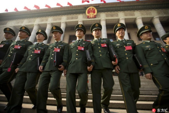 Chinese military delegates walk down the steps of the Great Hall of the People after the closing ceremony of China's 19th Party Congress in Beijing, Oct. 24, 2017. [File Photo: IC]