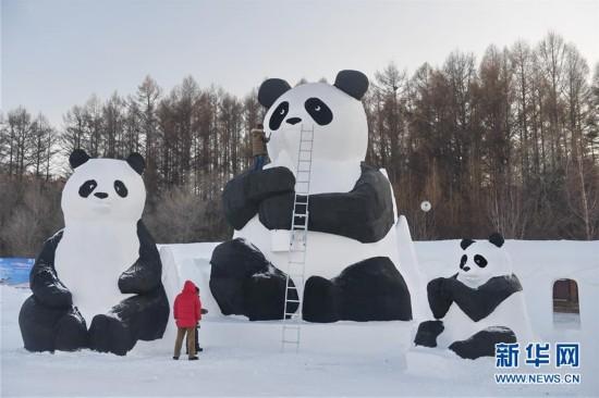 (社会)(1)长春净月潭:百余雪雕打造梦幻雪世界
