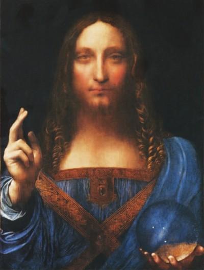 问鼎世界艺术品拍卖纪录的达・芬奇《救世主》(局部),约合人民币30亿元