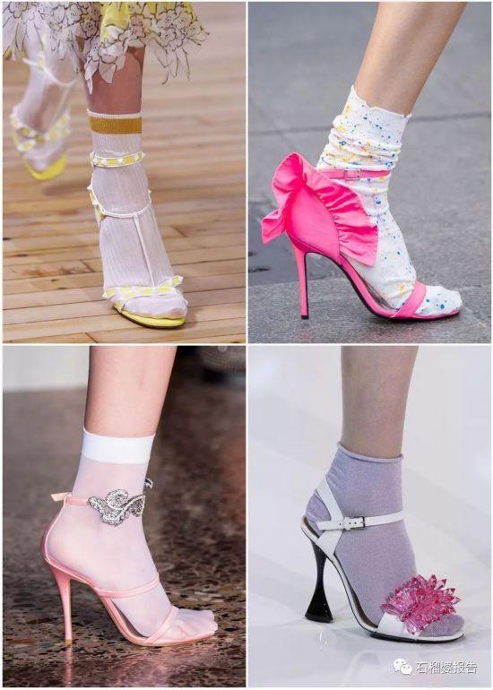 模特 荷尔蒙/Miu Miu和Missoni的模特,还在细带凉鞋里面穿了长袜。