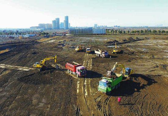 盐城南海未来城核心区南海公园湖体开挖