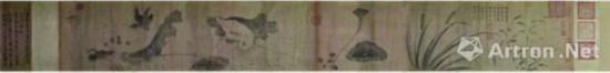 宋徽宗《池塘秋晚图》。形式:卷。尺寸:33×237.8厘米