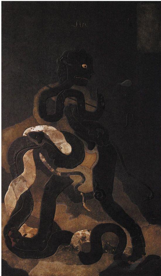 李伦 夜猎图 漆画