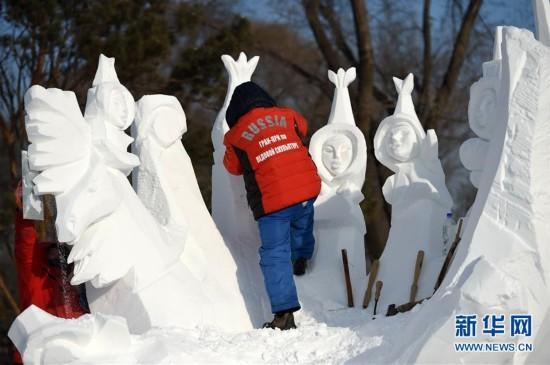 (文化)(7)国际雪雕比赛忙
