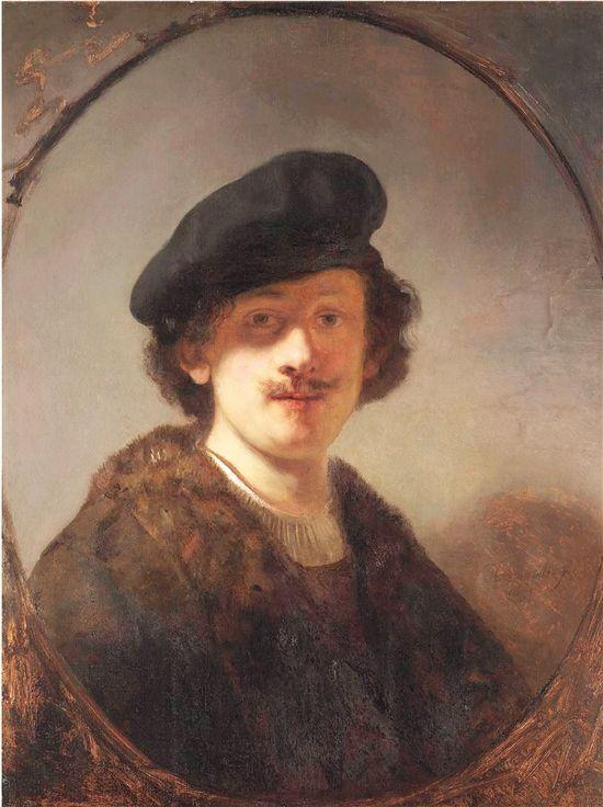 眼部蒙上阴影的自画像 荷兰 伦勃朗·凡·莱因 板面油画