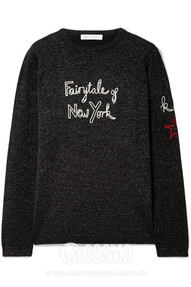 BELLA FREUD × Kate Moss  Fairytale Of New York 刺绣金属感羊毛混纺毛衣 442美元 可从net-a-porter网站购买