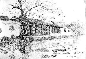 八旬翁钢笔手绘苏州园林 路人纷纷点赞