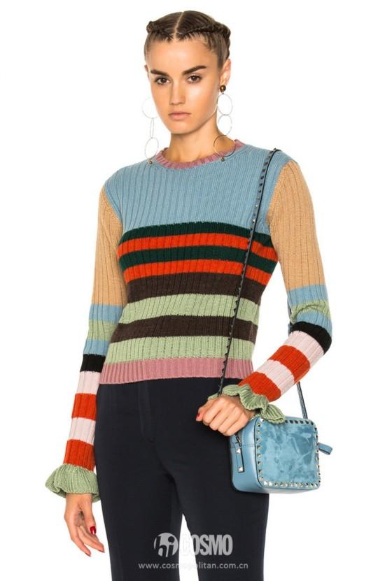 VALENTINO 拼色条纹毛衣 588美元 可从FWRD网站购买