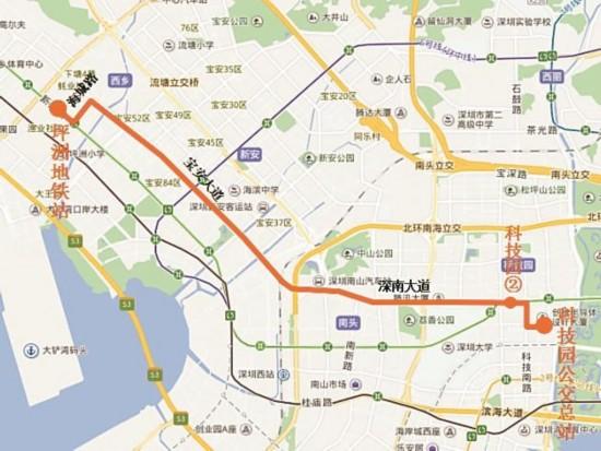 深圳公交高峰专线158号开通 从坪洲可直达南山科技园