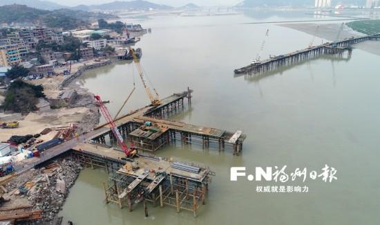 福州道庆洲大桥长乐段主栈桥春节前建成