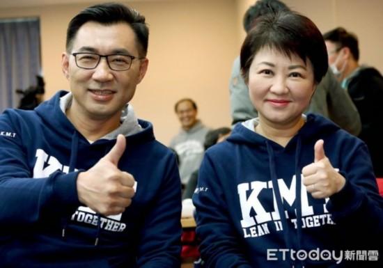 """国民党""""立委""""江启臣、卢秀燕 。(图片来源:台湾《东森新闻云》)"""