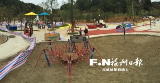 马尾生态公园儿童游乐区正加紧建设中.