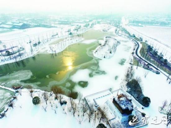江苏宿迁:雪后的马陵河美景醉人