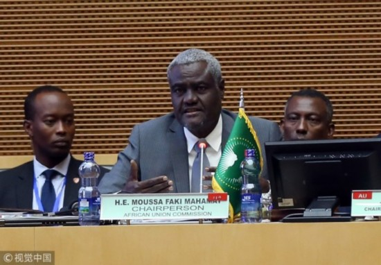 Moussa Faki Mahamat, Chairperson of the African Union Commission speaks during closing session of the 30th African Union (AU) Heads of State and Government Summit in Addis Ababa, Ethiopia on January 29, 2018. [Photo: VCG]
