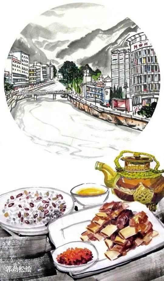 川籍画家手绘21市州地标和美食 快看代表你家乡的是什麽