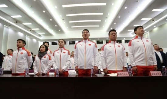 The Chinese delegation headed to the 2018 Winter Olympics in Pyongchang, South Korea has come together in Beijing, January 31, 2018. China is sending a delegation of 82 athletes and coaches to the games, with a shot at 55 medals in total. This marks the first time China will compete in the Bobsleigh and Skeleton events. [Photo: China Plus/ Li Jin]