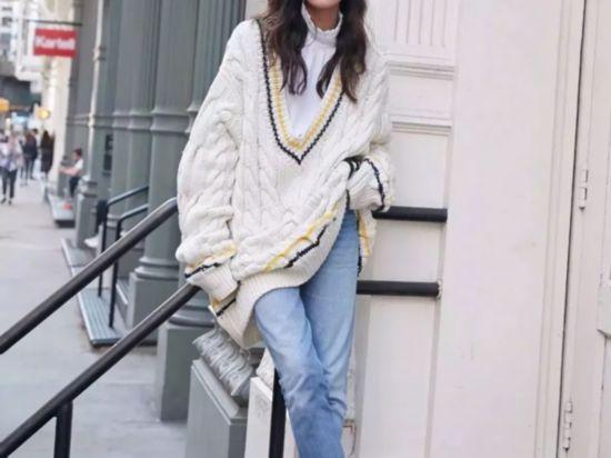 毛衣和牛仔这样搭配一样可以时髦上天!