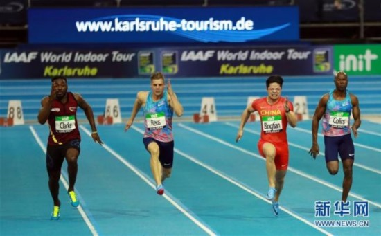 Chinese top sprinter Su Bingtian (2nd right) competes in the final of the 2018 International Association of Athletics Federations (IAAF) World Indoor Tour in Karlsruhe, Germany, on Feb. 3, 2018. [Photo: Xinhua]