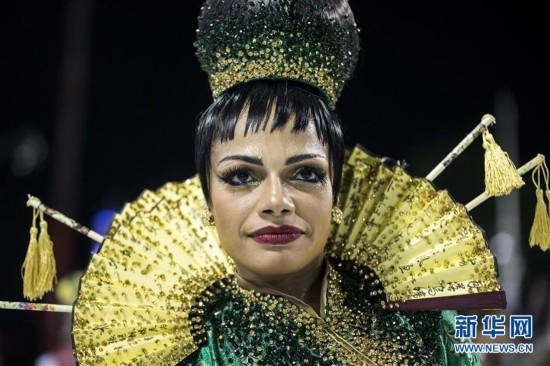 (国际)(3)巴西老牌桑巴舞校以中国主题亮相里约狂欢节