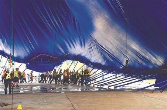 19米高太阳马戏主帐篷在深圳龙岗拔地而起