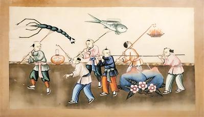 广州通草画里的元宵佳节-老广州过元宵 比除夕还热闹