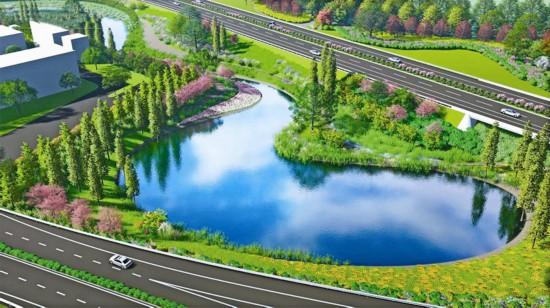 泰镇高速泰州东互通景观提升工程4月底成型
