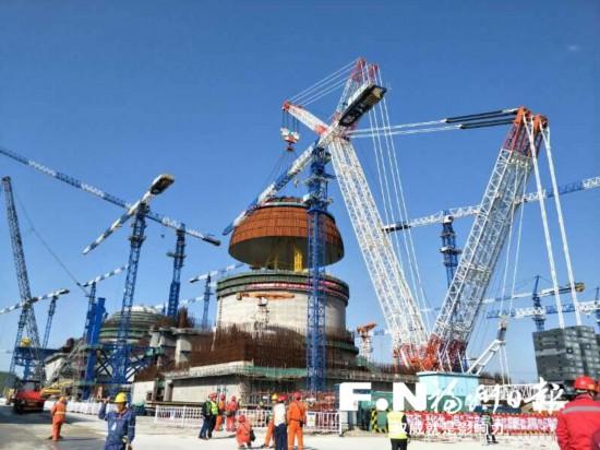 """福清核电6号机组完成穹顶吊装 是国内第二台""""华龙一号"""""""