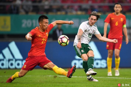 Wales thrashes hosts China 6-0 in the opener of the 2018 China Cup International Football Championship in Nanning, southwest China's Guangxi Zhuang Autonomous Region, on March 22, 2018. [Photo: Imagine China]