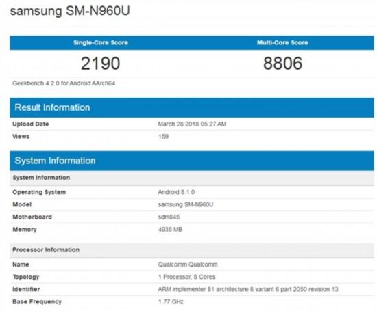 三星Note9惊现跑分网站 骁龙845这回稳了