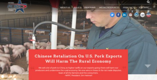 A statement on the website of the U.S. National Pork Producers Council says that the Chinese retaliation on U.S. pork exports will harm the rural economy. [Screenshot: China Plus]