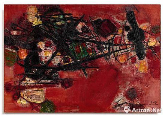 朱德群《红肥绿瘦》 油画画布 87 x 116cm 1959 年作 成交价:6155.4万港元